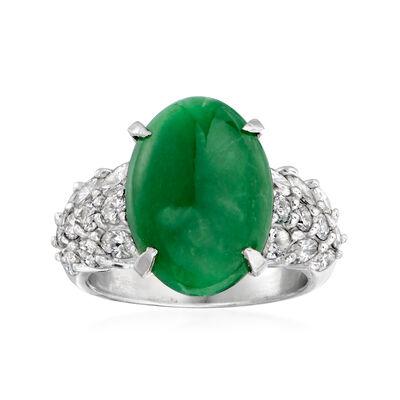 C. 1980 Vintage Jade and 1.34 ct. t.w. Diamond Ring in Platinum