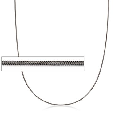 Italian Sterling Silver 1.2mm Adjustable Slider Square Snake Chain Necklace in Black, , default