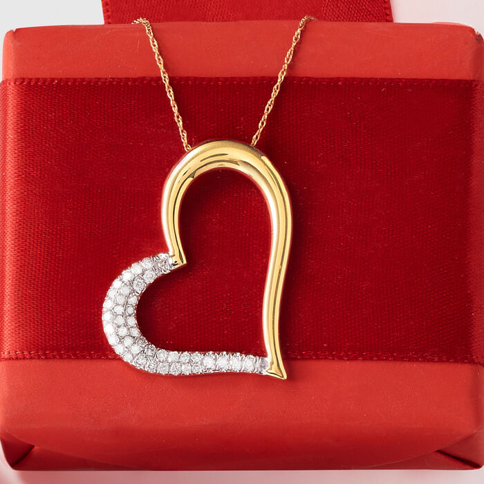 .50 ct. t.w. Diamond Heart Pendant Necklace in 14kt Yellow Gold