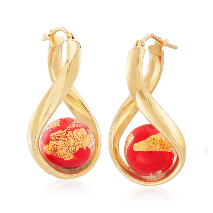 Italian Red Murano Glass Bead Curved Hoop Earrings in 18kt Gold Over Sterling