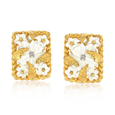 Mother-Of-Pearl Floral Earrings With CZ Accents in 18kt Yellow Gold Over Sterling Silver, , default