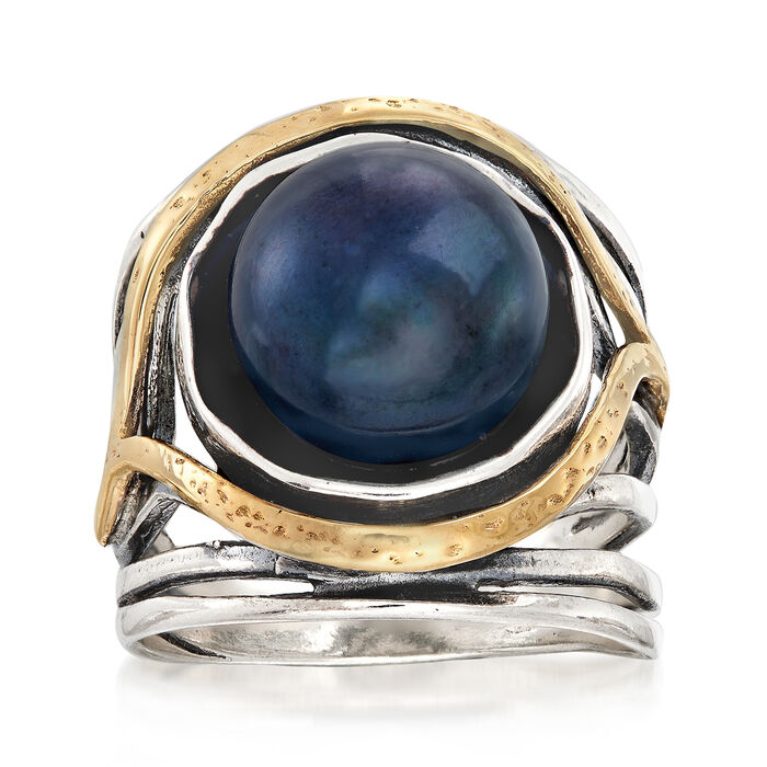 11.5-12mm Black Cultured Pearl Openwork Ring in Sterling Silver and 14kt Yellow Gold