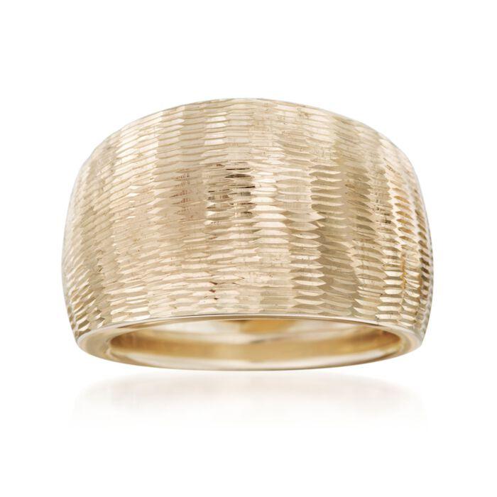 Italian 14kt Yellow Gold Diamond-Cut Wide-Band Ring, , default