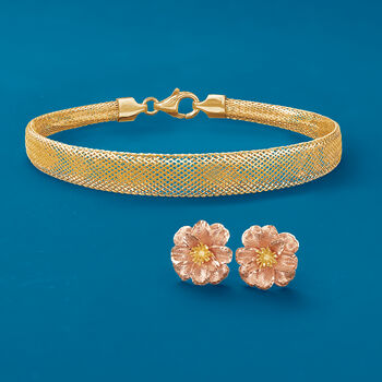 """Italian 18kt Yellow Gold Mesh Bracelet. 7"""""""