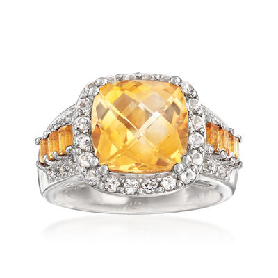 3.25 ct. t.w. Citrine Ring with White Topaz and Diamond Accents in Sterling Silver, , default