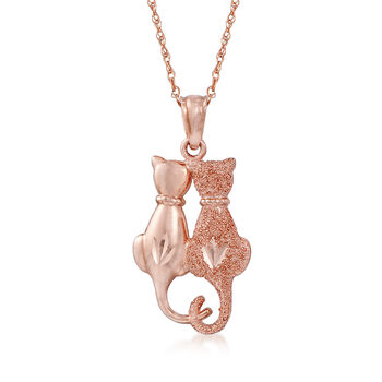 14kt Rose Gold Cat Duo Pendant Necklace, , default