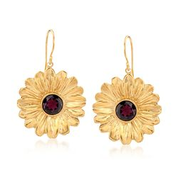 5.00 ct. t.w. Garnet Flower Earrings in 18kt Yellow Gold Over Sterling Silver, , default