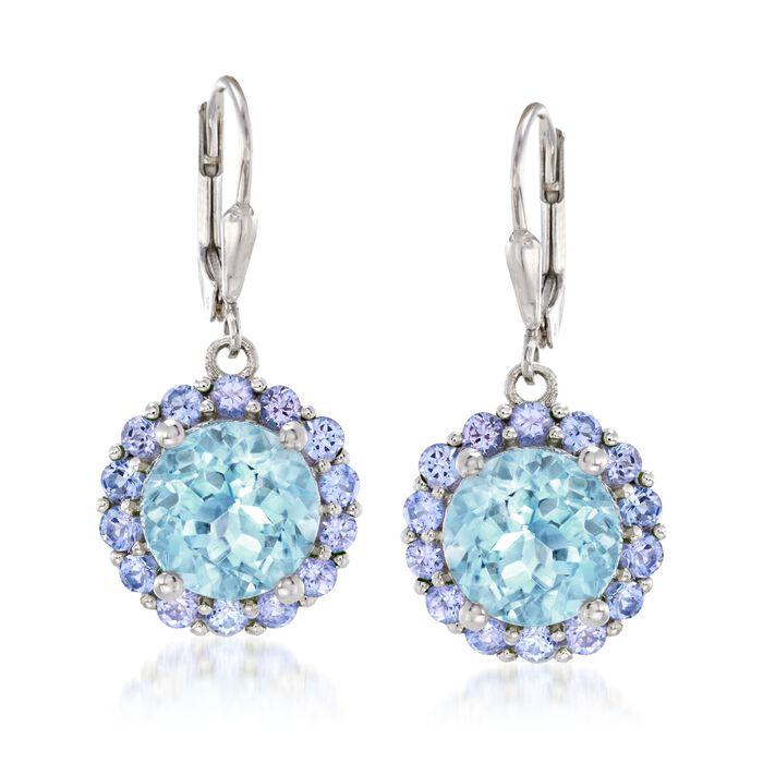 7.50 ct. t.w. Blue Topaz and 1.80 ct. t.w. Tanzanite Drop Earrings in Sterling Silver, , default