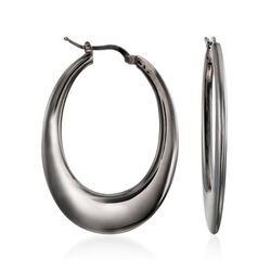"Italian Gunmetal Sterling Silver Elongated Hoop Earrings. 1 3/4"", , default"