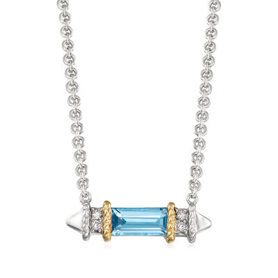 "Andrea Candela ""La Romana"" .55 Carat Swiss Blue Topaz Necklace in Sterling Silver and 18kt Yellow Gold"