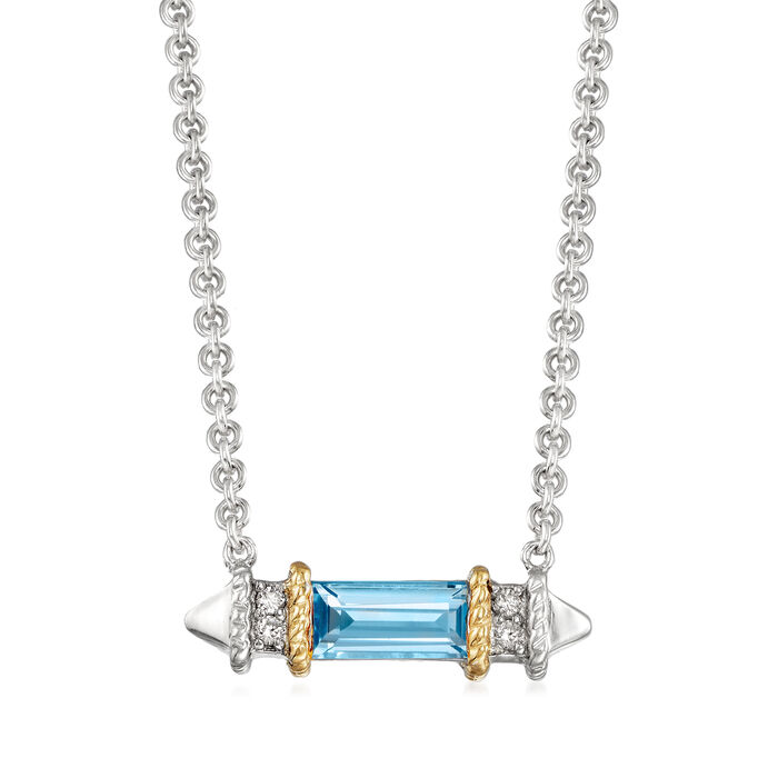 """Andrea Candela """"La Romana"""" .55 Carat Swiss Blue Topaz Necklace in Sterling Silver and 18kt Yellow Gold"""