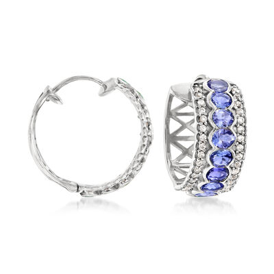 3.00 ct. t.w. Tanzanite and .60 ct. t.w. White Zircon Hoop Earrings in Sterling Silver, , default