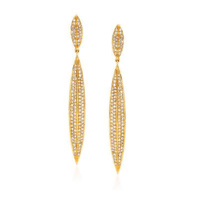 .78 ct. t.w. Diamond Linear Drop Earrings in 18kt Yellow Gold, , default