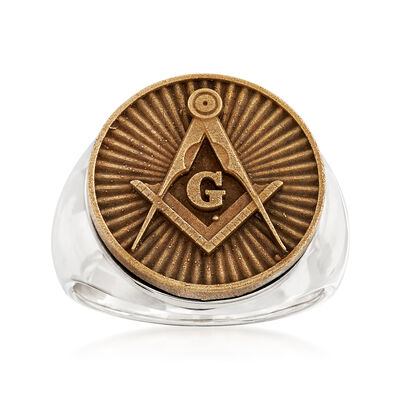 Men's Masonic Square and Compasses Coin Ring in Sterling Silver, , default