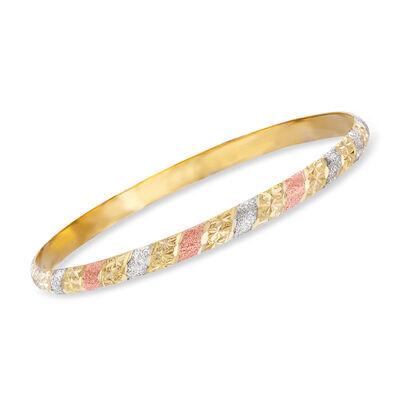 Italian 18kt Tri-Colored Gold Bangle Bracelet, , default