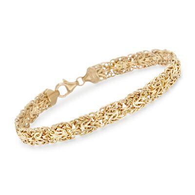 14kt Yellow Gold Flat Byzantine Bracelet, , default