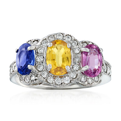 3.10 ct. t.w. Multicolored Sapphire and .54 ct. t.w. Diamond Ring in 14kt White Gold, , default