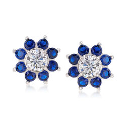 3.20 ct. t.w. CZ and Synthetic Spinel Earrings in Sterling Silver , , default