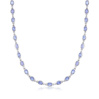 19.00 ct. t.w. Tanzanite Station Necklace in Sterling Silver, , default