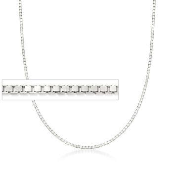 1.4mm 14kt White Gold Box Chain Necklace, , default