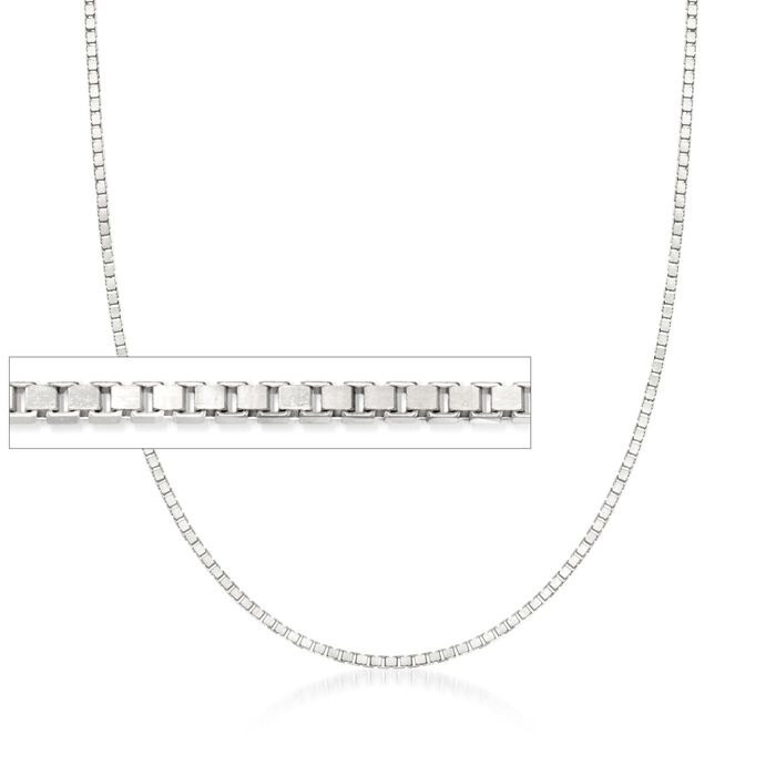 1.4mm 14kt White Gold Box Chain Necklace, , default