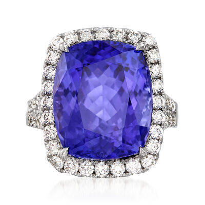 18.00 Carat Tanzanite and 1.84 ct. t.w. Diamond Ring in 18kt White Gold