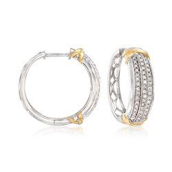 """1.00 ct. t.w. Diamond Triple-Row Hoop Earrings in 14kt Two-Tone Gold. 7/8"""", , default"""
