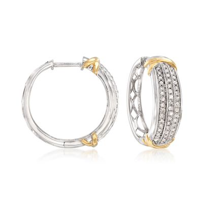 1.00 ct. t.w. Diamond Triple-Row Hoop Earrings in 14kt Two-Tone Gold , , default