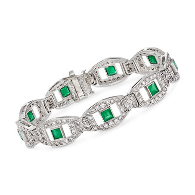 C. 1960 Vintage 4.95 ct. t.w. Diamond and 2.70 ct. t.w. Square Emerald Bracelet in Platinum, , default