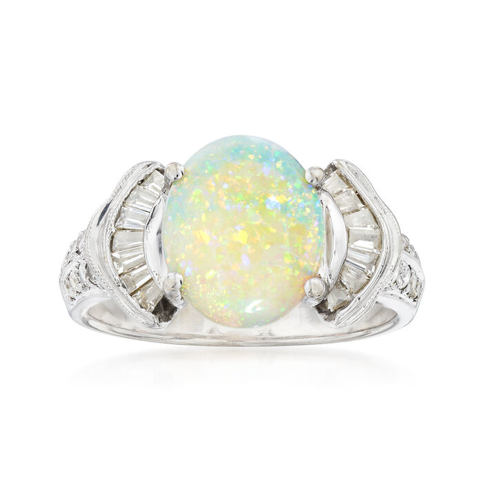 C. 2000 Vintage Opal and .50 ct. t.w. Diamond Ring in 18kt White Gold. Size 8