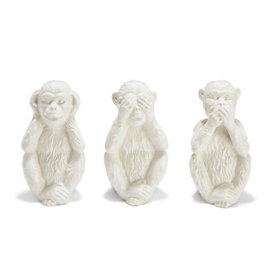 Set of 3 Porcelain Monkey Figurines, , default