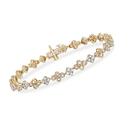 3.00 ct. t.w. Bezel-Set Diamond and Flower Bracelet in 14kt Yellow Gold, , default