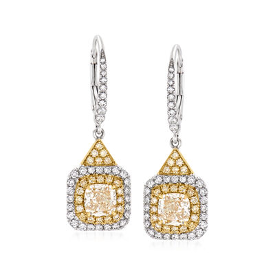 2.41 ct. t.w. Yellow and White Diamond Drop Earrings in 18kt Two-Tone Gold