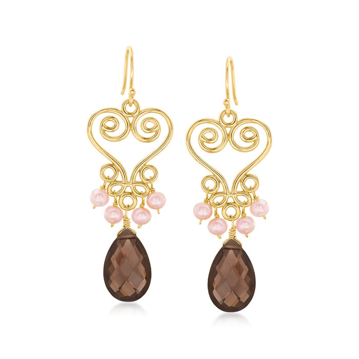 3-4mm Pink Cultured Pearl and 10.00 Smoky Quartz Drop Earrings in 18kt Gold Over Sterling