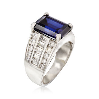 Simulated Tanzanite and 1.45 ct. t.w. CZ Multi-Row Ring in Sterling Silver