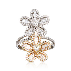 1.43 ct. t.w. Diamond Double Flower Ring in 18kt Two-Tone Gold, , default