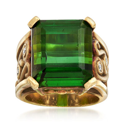 C. 1970 Vintage 19.00 Carat Tourmaline and .20 ct. t.w. Diamond Ring in 14kt Yellow Gold, , default