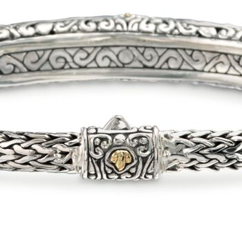 Balinese 3.90 ct. t.w. Blue Topaz Bracelet in Sterling Silver and 18kt Gold, , default