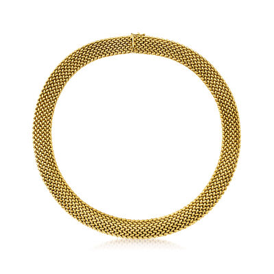 C. 1980 Vintage 14kt Yellow Gold Basketweave Necklace