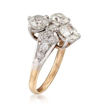 C. 1980 Vintage 2.55 ct. t.w. Diamond Trio Ring in 14kt Two-Tone Gold. Size 6, , default