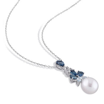 """9.5-10mm Cultured Pearl and 3.10 ct. t.w. Blue and White Topaz Drop Pendant Necklace in Sterling Silver. 18"""""""
