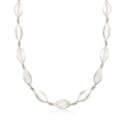 "Zina Sterling Silver ""Smooth Leaf"" Necklace, , default"