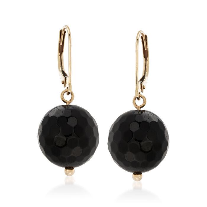 Black Onyx Bead Drop Earrings in 14kt Yellow Gold, , default
