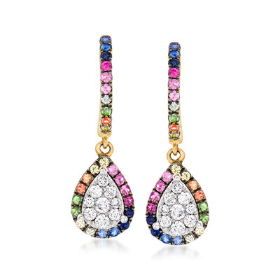 .40 ct. t.w. Multicolored Sapphire and .30 ct. t.w. Diamond Drop Earrings with Garnet Accents in 14kt Yellow Gold, , default