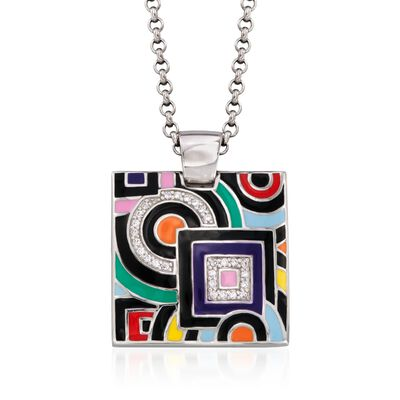 "Belle Etoile ""Geometrica"" Multicolored Enamel and .25 ct. t.w. CZ Pendant in Sterling Silver, , default"