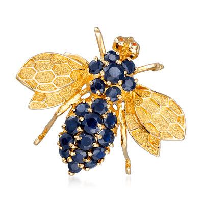 C. 1980 Vintage 2.30 ct. t.w. Sapphire Bee Pin/Pendant in 14kt Yellow Gold, , default