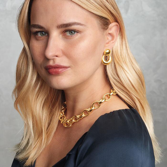 Italian 18kt Yellow Gold Doorknocker Drop Earrings