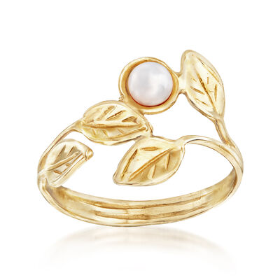 4mm Cultured Pearl Leaf Bypass Ring in 14kt Yellow Gold, , default