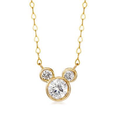 Child's Disney .80 ct. t.w. CZ Mickey Mouse Necklace in 14kt Yellow Gold, , default