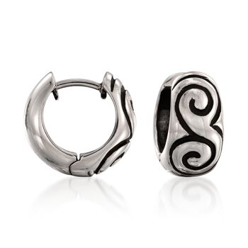 "Zina Sterling Silver ""Swirl"" Hoop Earrings. 1/2"", , default"